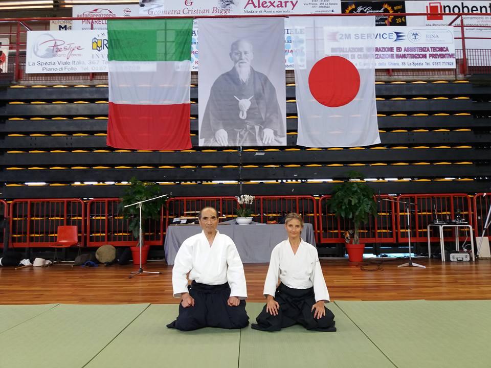 Il Maestro Hiroshi Tada con Agnese Trocchi. La Spezia - Kinorenma 2017